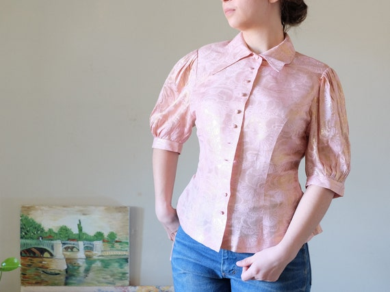 Vintage 50s blouse pink gold brocade blouse puffed