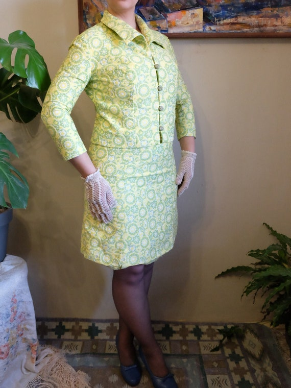 Vintage 50s 60s suit jacket and dress yellow green