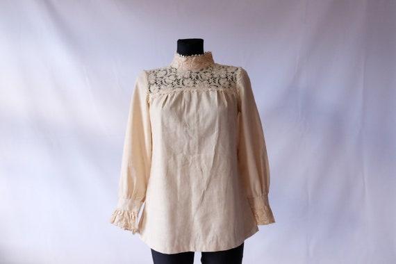 70s blouse 60s 70s Vintage Edwardian Prairie off … - image 3