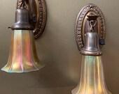 Pair of Art Nouveau Wall Sconces with Steuben Gold Aurene Shades