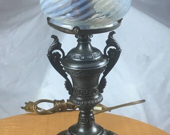 Gas lamp etsy victorian gas table lamp wired opalescent glass shade aloadofball Choice Image