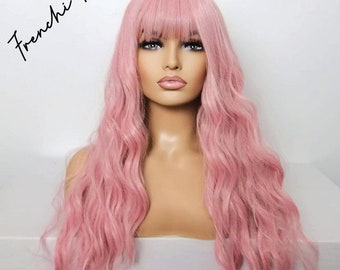 Long pink wavy wig bangs fringe - curly baby pink light pale pastel  for women uk- synthetic wig drag, pinup, burlesque, cosplay, day wear.