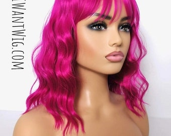 Hot pink wavy wig bangs fringe - curly hot pink deep dark fushia for women uk- synthetic wig drag, pinup, stage, burlesque cosplay day wear.
