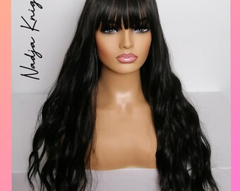 Long Black wavy wig bangs fringe - dark curly hair for women uk- synthetic wig drag, pinup, stage, burlesque, cosplay, day wear.
