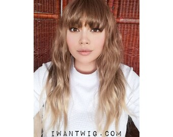 Long brown wig bangs with fringe -  Billy 23 inches ombre light brown to Blonde - curly crimped wavy brunette wig