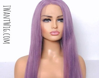 Long purple lace front wig- 24 inch straight light lilac full length wig