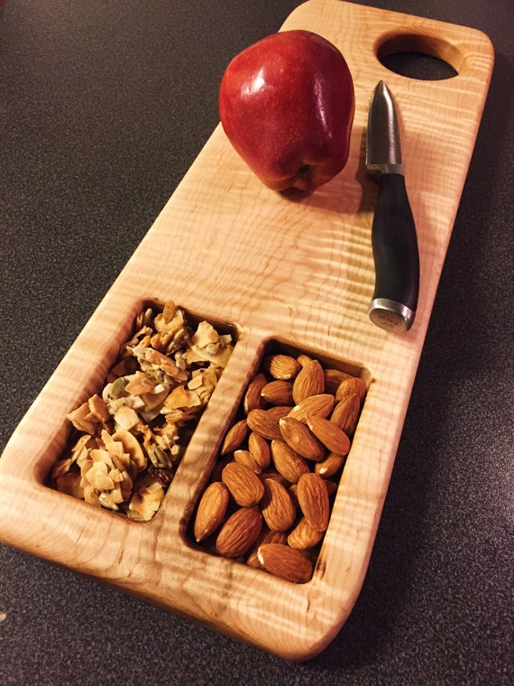 Flame Maple Cutting Board / Serving Board Recessed Trays