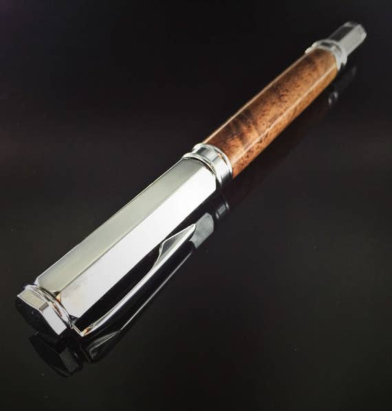 WOW! *CLEARANCE* Flame Walnut Wood Rollerball Pen - Chrome with magnetic cap