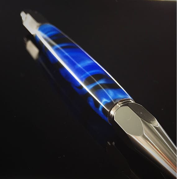 Black and Blue Resin Pen - Gunmetal Click Hardware