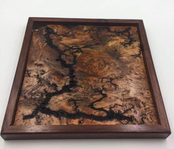 Small Lichtenberg Figure Art Print - Maple Burl with Walnut Frame