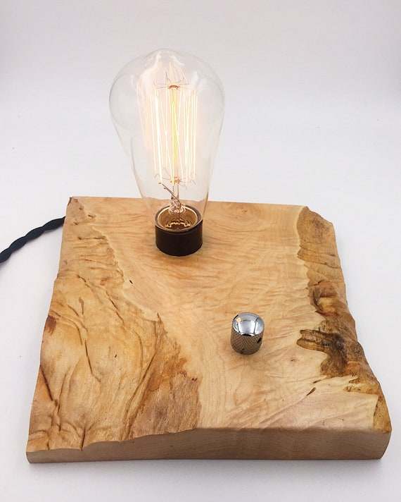 Quilted Maple Wood Block Desk Lamp. Edison Bulb and Telecaster style On/Off switch. Industrial