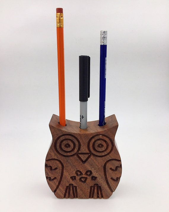 Walnut Wood Owl Pencil Holder