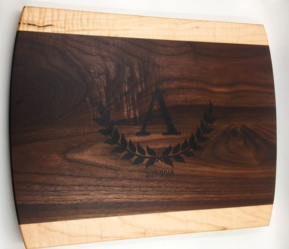 Custom Walnut and Flame Maple Cutting Board: Your Design Inlayed In Resin!
