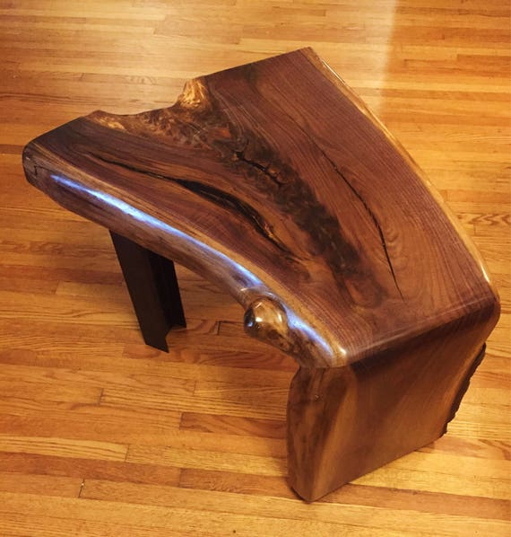 Live Edge Walnut Wood Waterfall Table: Live Edge Side/End Table