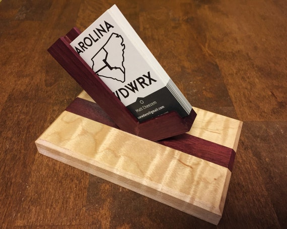 Flame Maple and Purpleheart Wooden Business Card Holder - Modern Design