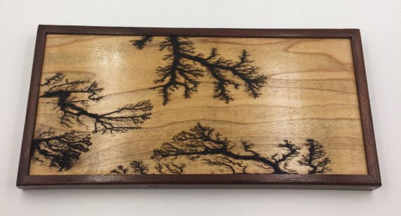 Small Lichtenberg Figure Art Print - Maple with Walnut Frame
