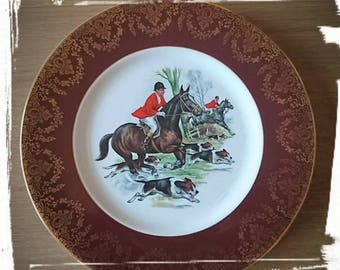 Vintage Plate Horse Hunting Scene English Fine China Large Limoges Collectors Plate Decorative Equestrian