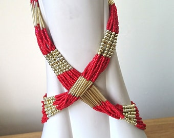 Vintage Multi Strand Necklace Beaded Red and Gold long chunky Costume Jewellery Jewelry & Chunky costume jewelry | Etsy
