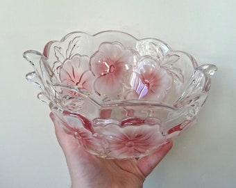 40157c08fc08 Vintage Walther-Glas Bowl Flower Fancies Crystal Bowl Vintage Glassware  Pink Floral Design Original Box
