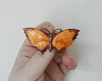Vintage Enamel Butterfly Brooch Pin Orange  Guilloche Enamelled Brooch 1930's Art Deco Insect Brooch Costume Jewellery Jewelry