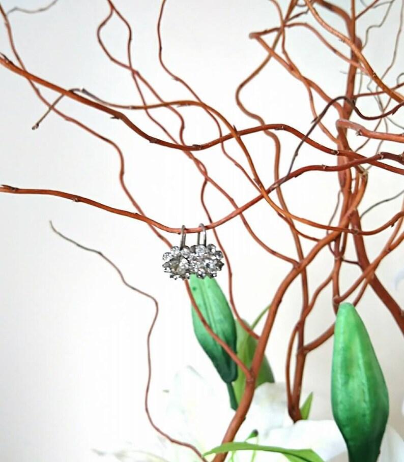 Vintage Earrings Screw Back Faux Diamond diamante Rhinestone Silver Tone Floral Stud Costume jewelry