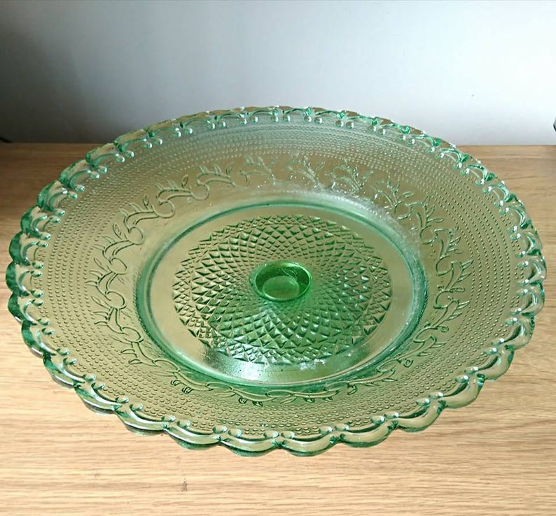 Vintage Cake Stand Green Glass Art Deco Pressed Glass Large Gateau Stand