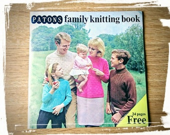 Vintage Knitting Magazine Book Family by Patons 1960's