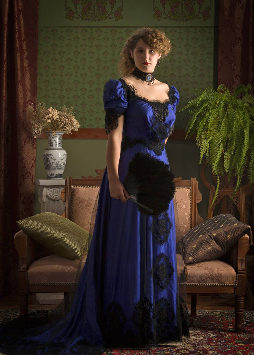 Vintage Tea Dresses, Floral Tea Dresses, Tea Length Dresses Edwardian Black Beaded Lace and Royal Blue Silk Evening Dress reproduction $750.00 AT vintagedancer.com