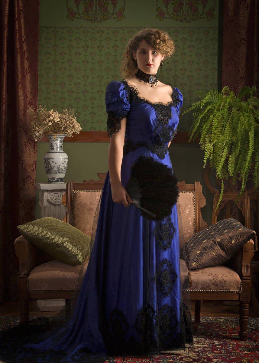 1920s Downton Abbey Dresses Size 8 - Edwardian Black Beaded Lace and Royal Blue Silk Evening Dress reproduction $750.00 AT vintagedancer.com