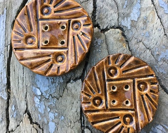 Two Handmade Ceramic Buttons