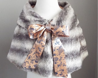 VINTAGE faux fur CAPE with BALLET satin lining