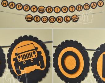 Jeep Birthday Banner - Jeep Banner - Birthday Banner