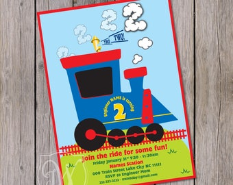 Chugga Chugga two two invitation, Train Birthday invitation Choo Choo birthday invitation