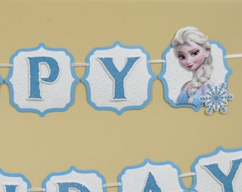 Frozen Inspired Banner - Frozen Banner - Happy Birthday Banner - Winter Party Decoration - Girls Party - Let it go