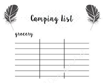 Simple Modern Camping List