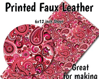 Paisley Printing pattern faux leather sheets vegan  leather  for errings hair bows purse wallet