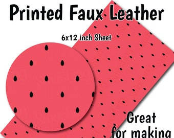 Pink Black Watermelon Seed Print Synthetic Leather Printed Sewing Leatherette DIY Fabric For Bag /& Bow Making Faux Leather Sheets