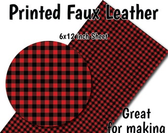pigtail bows cute pinch bow 3.5 inch and 2.5 inch bow hair bow scalloped bow Buffalo plaid faux leather hair bow black and red