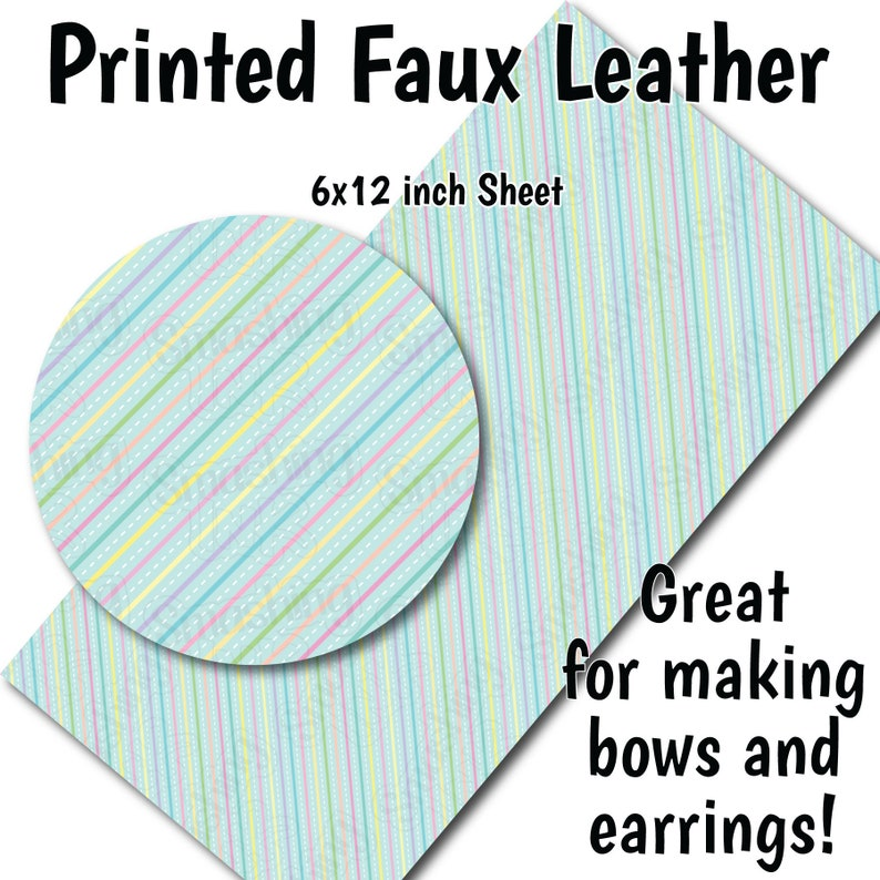 Pastel Stripes T Faux Leather SheetPrinted Faux Leather for EarringsLeather Fabric for BowsLeatherette SheetsSynthetic Leather