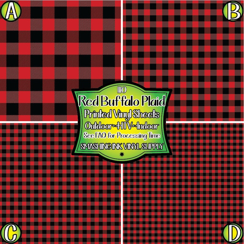 Red Buffalo Plaid Vinyl/Printed Heat Transfer Vinyl/Patterned image 0