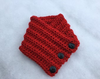 Red Cowl scarf with buttons