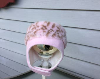 Pink and pink fur girls hat