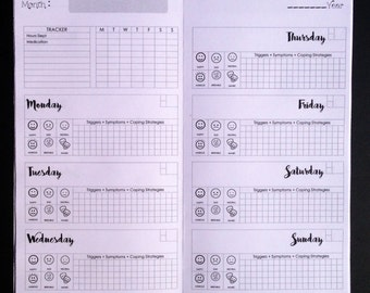 Weekly Mood + Anxiety + Depression Tracker (W02P) Traveler's Notebook Insert - Choose Your Size