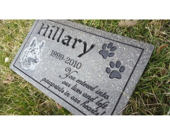 Pet Memorial Carved Engraved V-Groove Weatherproof Solid Surface Corian Granite Substitute Grave Stone Marker