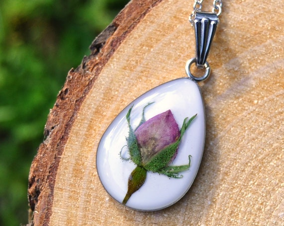Real Rosebud Drop Necklace
