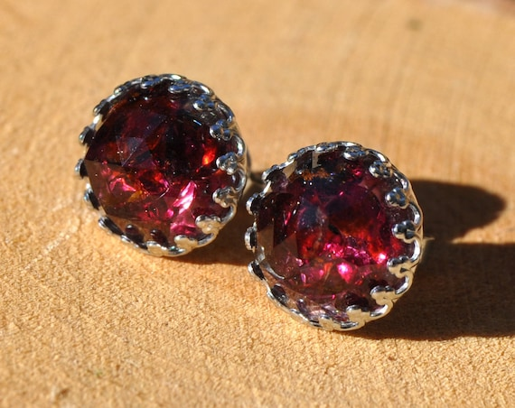 Rose Cut Garnet and Resin Stud Crown Earrings