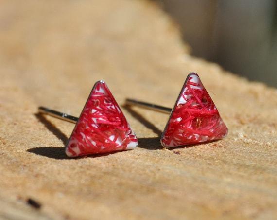 Eucalyptus Flower Triangle Stud Earrings