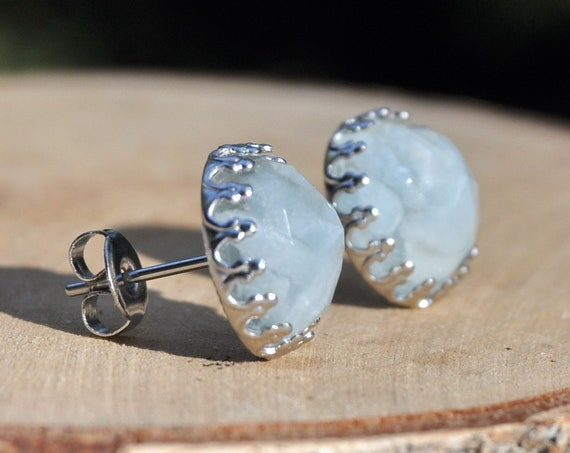 Aquamarine and Resin Stud Crown Earrings