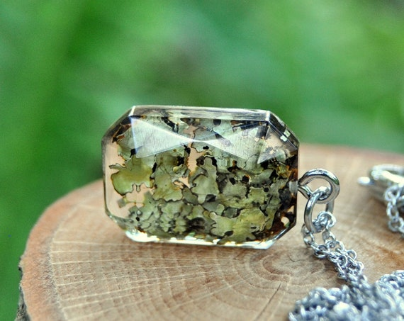 Real Lichen Resin Necklace - Octagonal