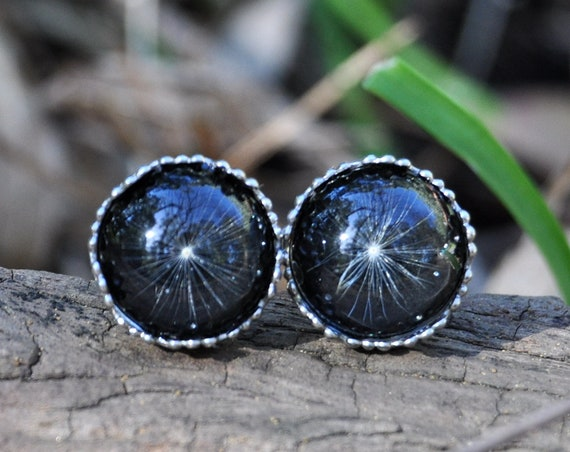Black Dandelion Stud Earrings